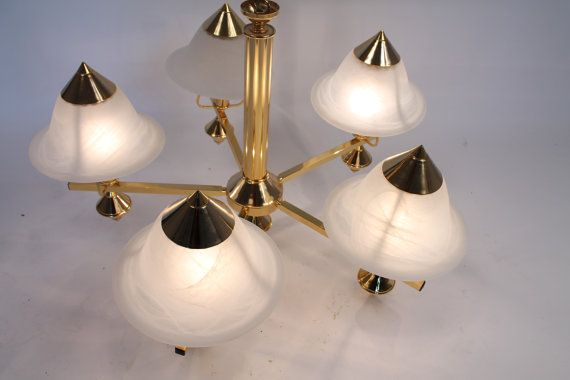 CHANDELIER GOLD PLATED 5arms Italy late 80s  by VINTAGELAMPDEN, $595.00