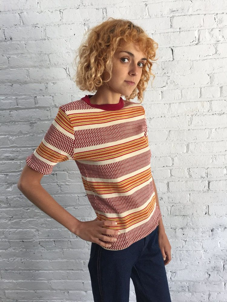 70s Burgundy And Mustard Yellow Striped Tee 1970s Ribbed T Shirt Vintage Clothes Women Clothes Online Womens Clothing