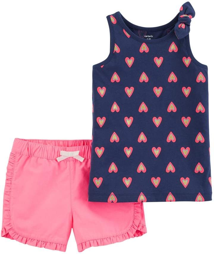 2611e16c75f44 Girls 4-8 Carter's Heart Tank Top & Ruffled Shorts Set | Products ...