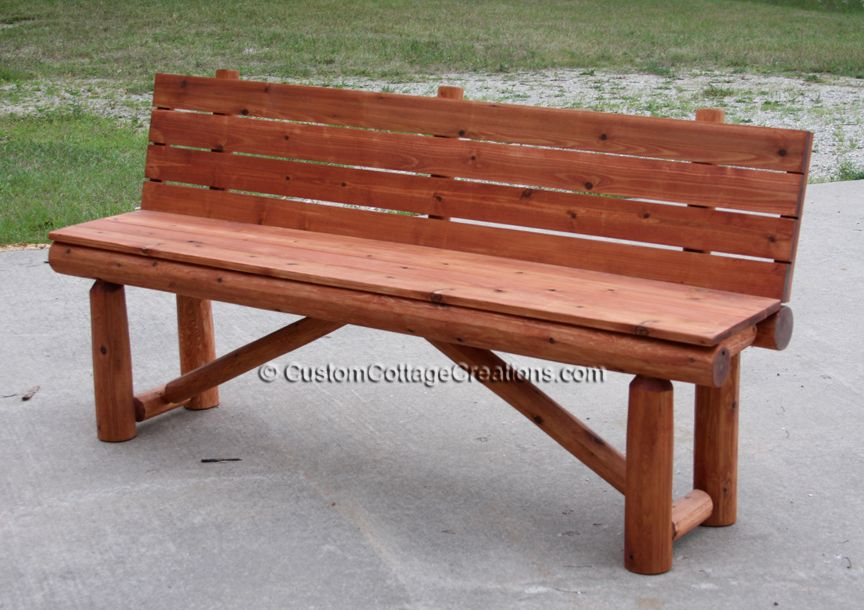 Five Foot White Cedar Bench With Back Stained In Mahogany.