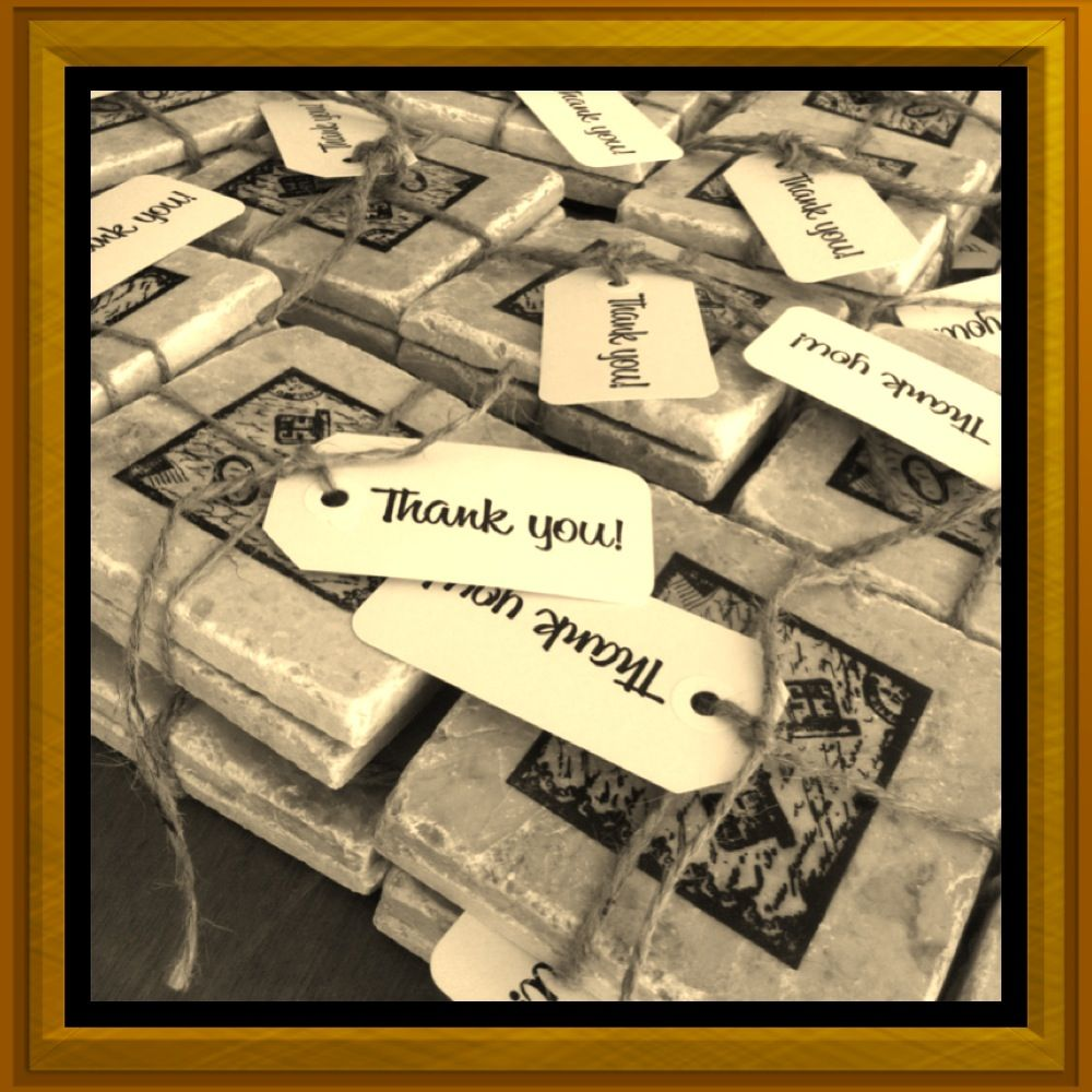 Wedding favors try diy tile coasters each guest gets a pair of