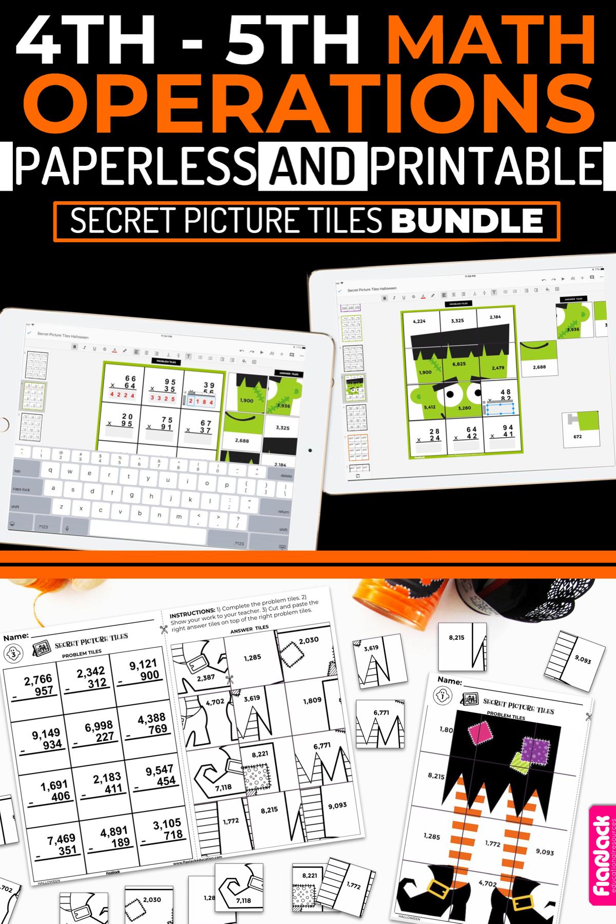 Halloween Math 4th 5th Paperless Slides Powerpoint