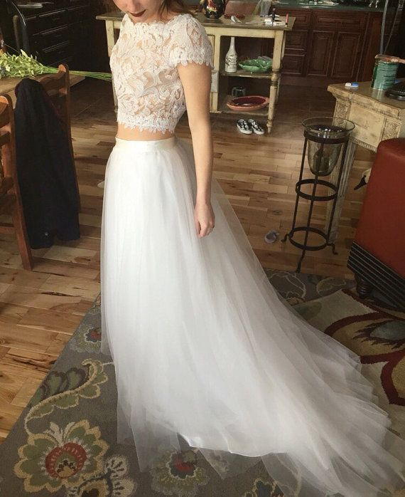 Bridal tulle skirt with train boho bridal dress by for Removable tulle skirt wedding dress