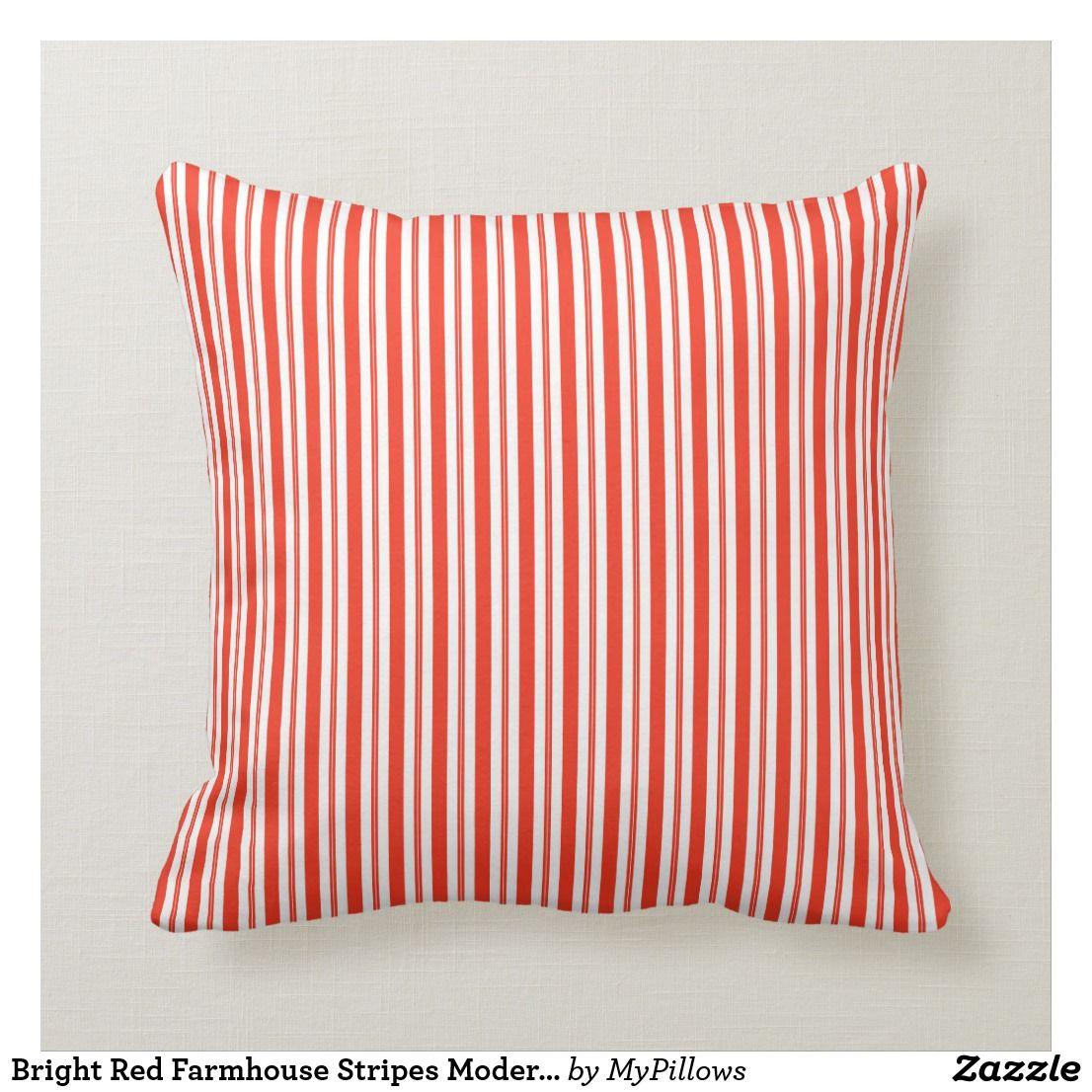 Bright red farmhouse stripes modern pattern 03 throw