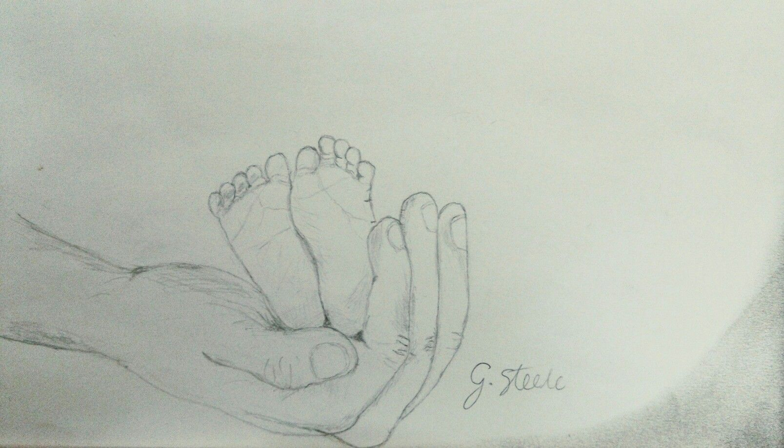 Baby feet in fathers hand baby daddy sketch pencil drawing