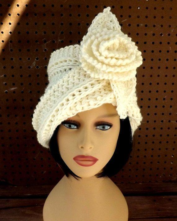 Cloche Hat 1920s, Ivory Crochet Hat Womens Hat, Steampunk Hat, Ivory ...