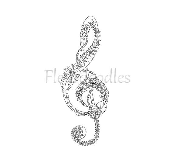 adult coloring page treble clef music colouring pages floral coloring books zentangle. Black Bedroom Furniture Sets. Home Design Ideas