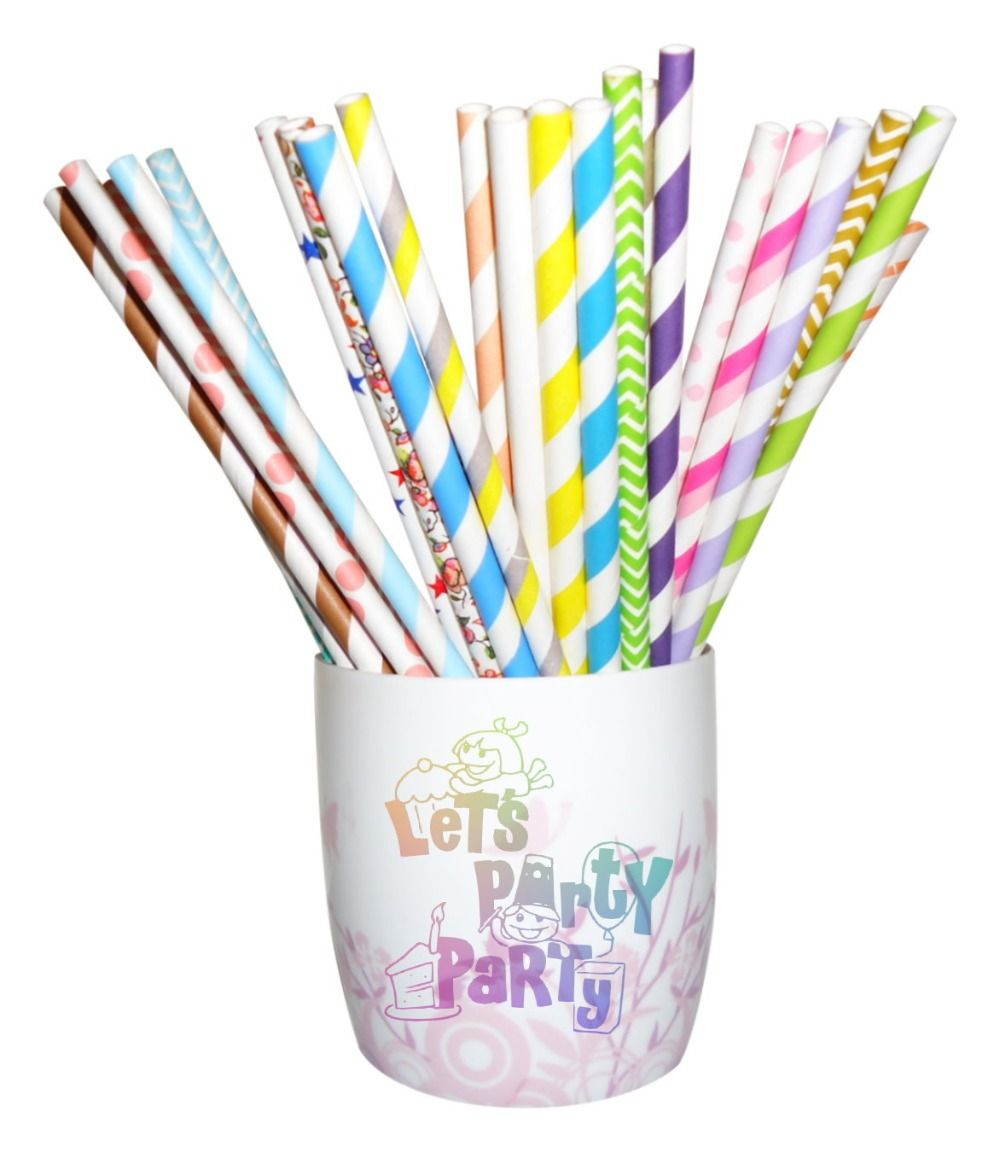 Paper Straws (Checkers, Chevrons, Circles, Damasks, Dots, Harlequins, Hearts, Solids, Starts, Stripes, Miscellaneous) available in colors: Pink, Red, Orange, Yellow, Green, Aqua, Blue, Purple, Grey, Black, Gold and Silver. 25pcs per OPP bag. Includes Free Shipping. $435 per lot