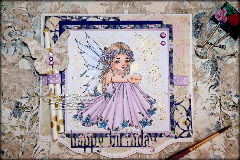 Spring Flower – PRINTABLE Instant Download Digital Stamp / Botanical Flora Fairy Girl Fantasy Art by Ching-Chou Kuik