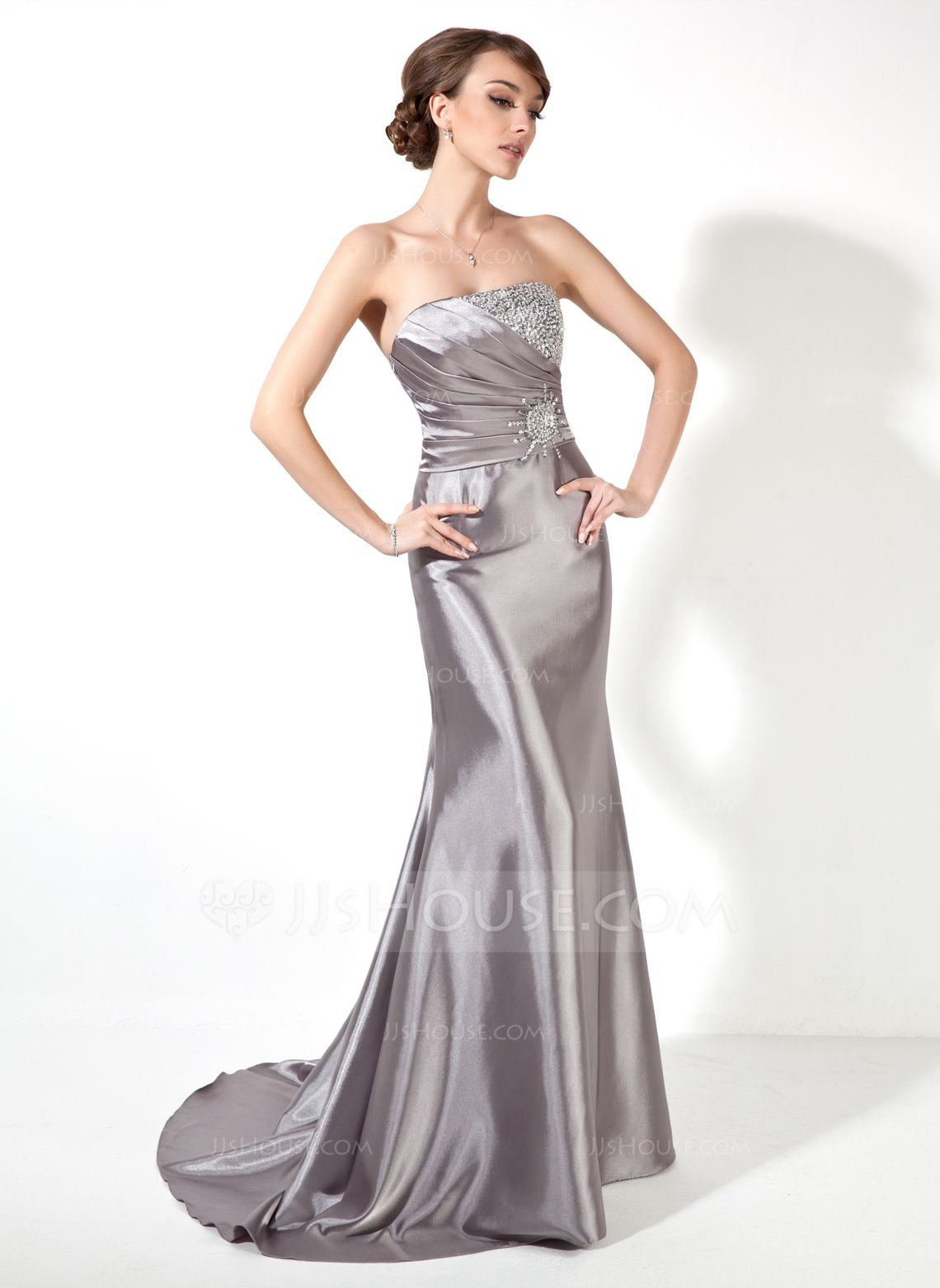 Trumpet/Mermaid Strapless Sweep Train Charmeuse Prom Dress With ...