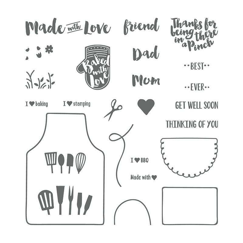 Stampin Up STAMP SET PHOTOPOLYMER APRON OF LOVE 145835