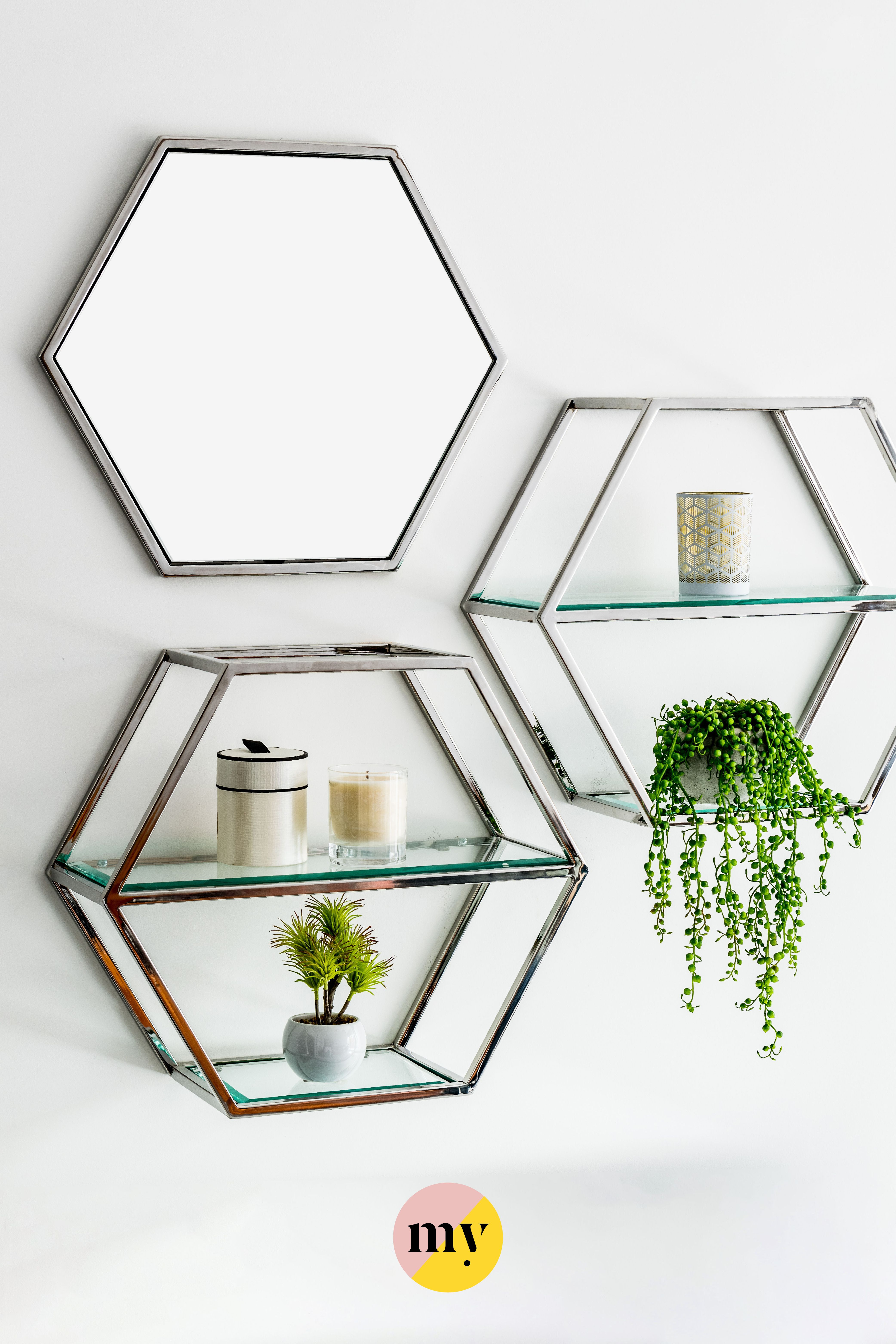 Alveare Brushed Chrome Shelf Mirror