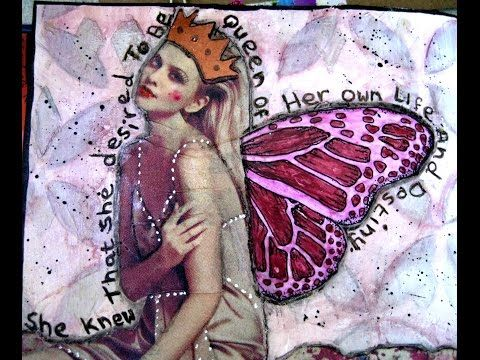 """Mixed-Media Art Journal Collage - """"Queen"""" - YouTube"""