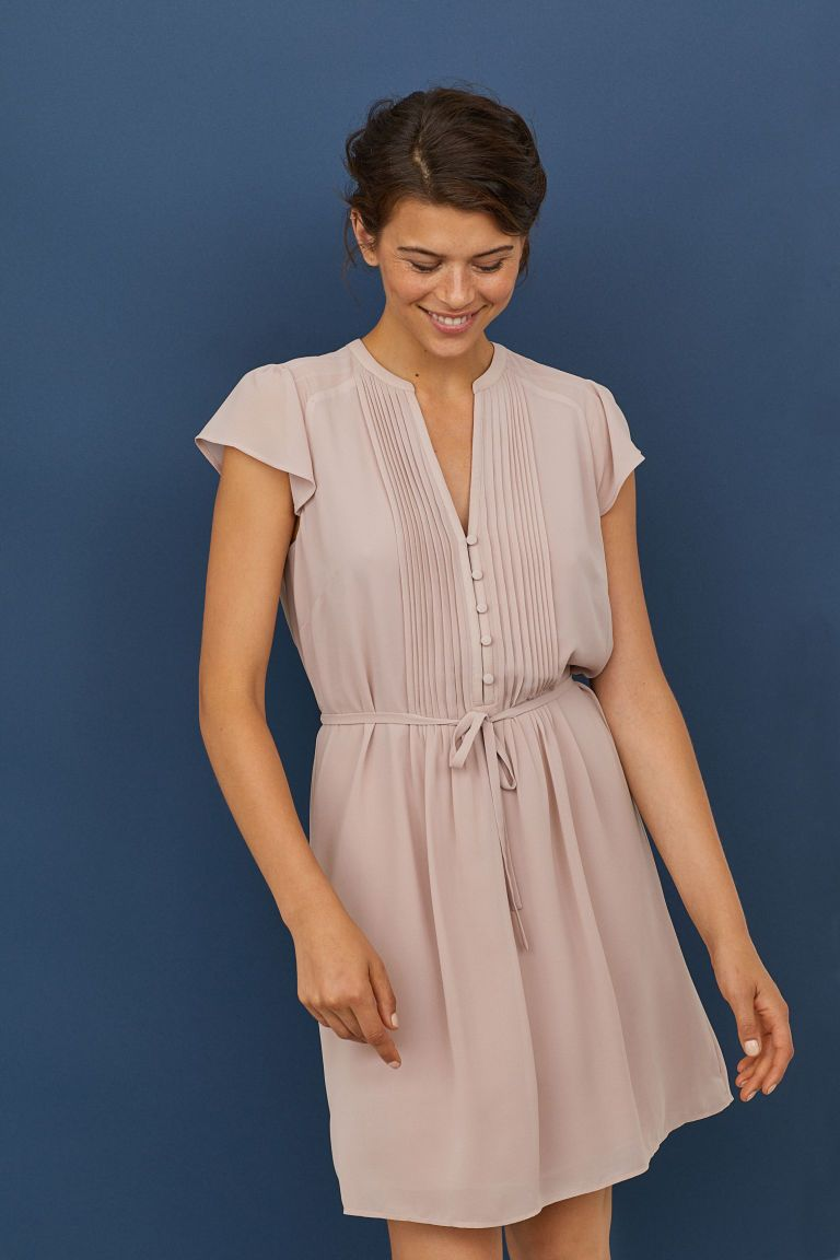 H&m dusty pink dress  HuM Dress with Tie Belt  Pink  What to Wear Families  Pinterest