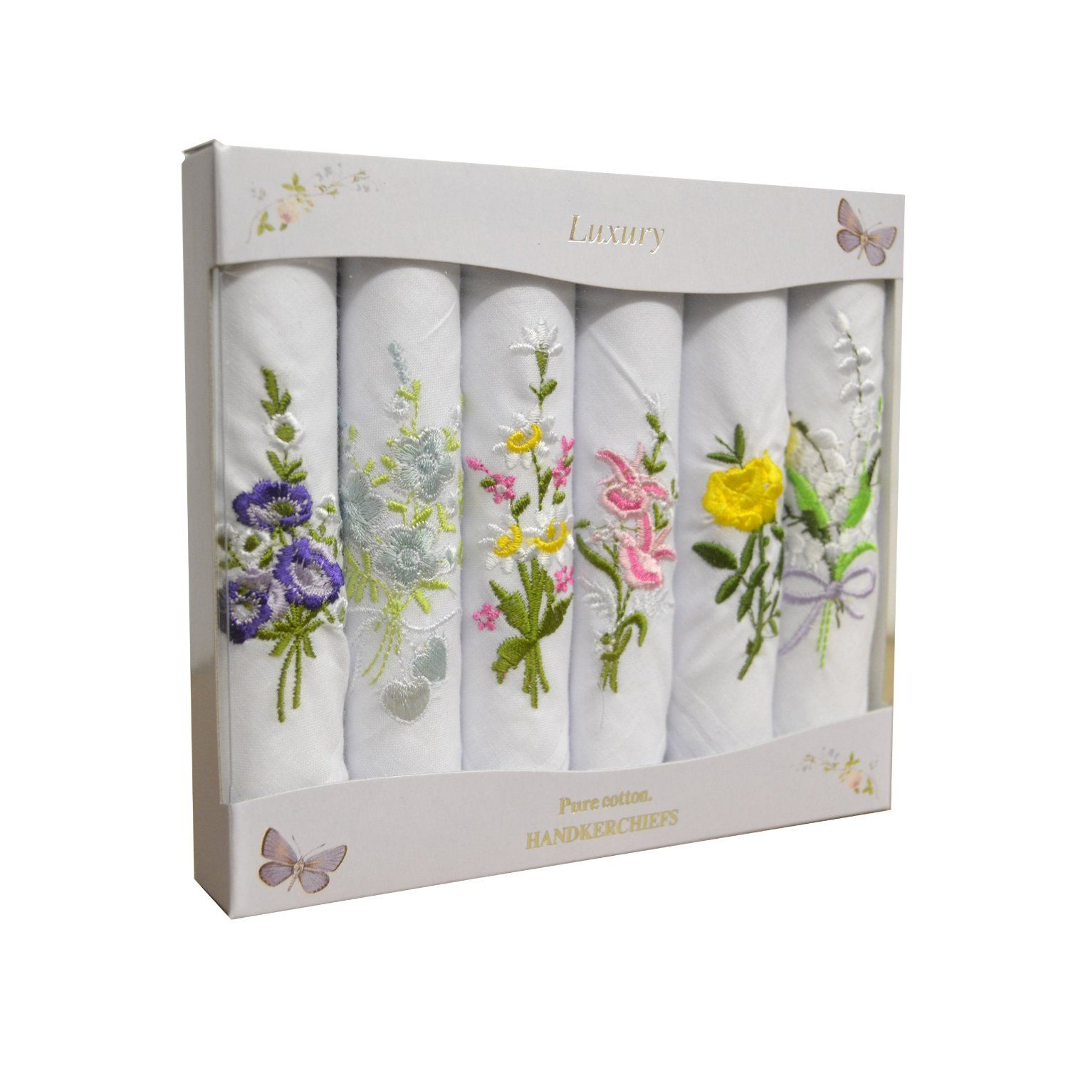 6 Pack Ladies Boxed 100  Cotton Embroidered Luxury White Handkerchiefs