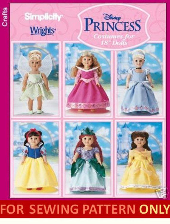 Doll Clothes Pattern Make Disney Princess Costumes For American