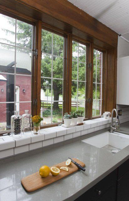 Photo Gallery At Home With The Wehmuellers In Liberty Kitchen Window Sill Tiled Window Sill Discount Interior Doors