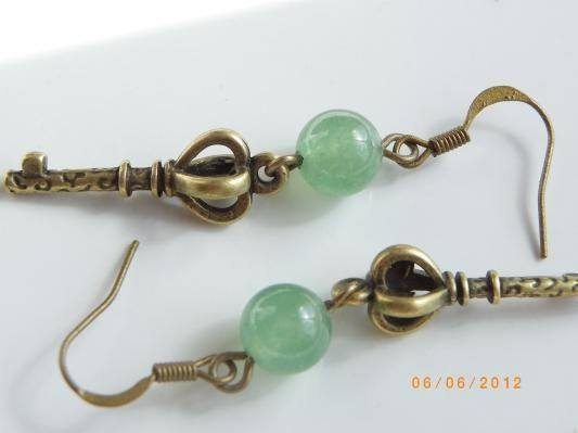 Key Antique style bronze tone charm Jade beads earrings, free shipping