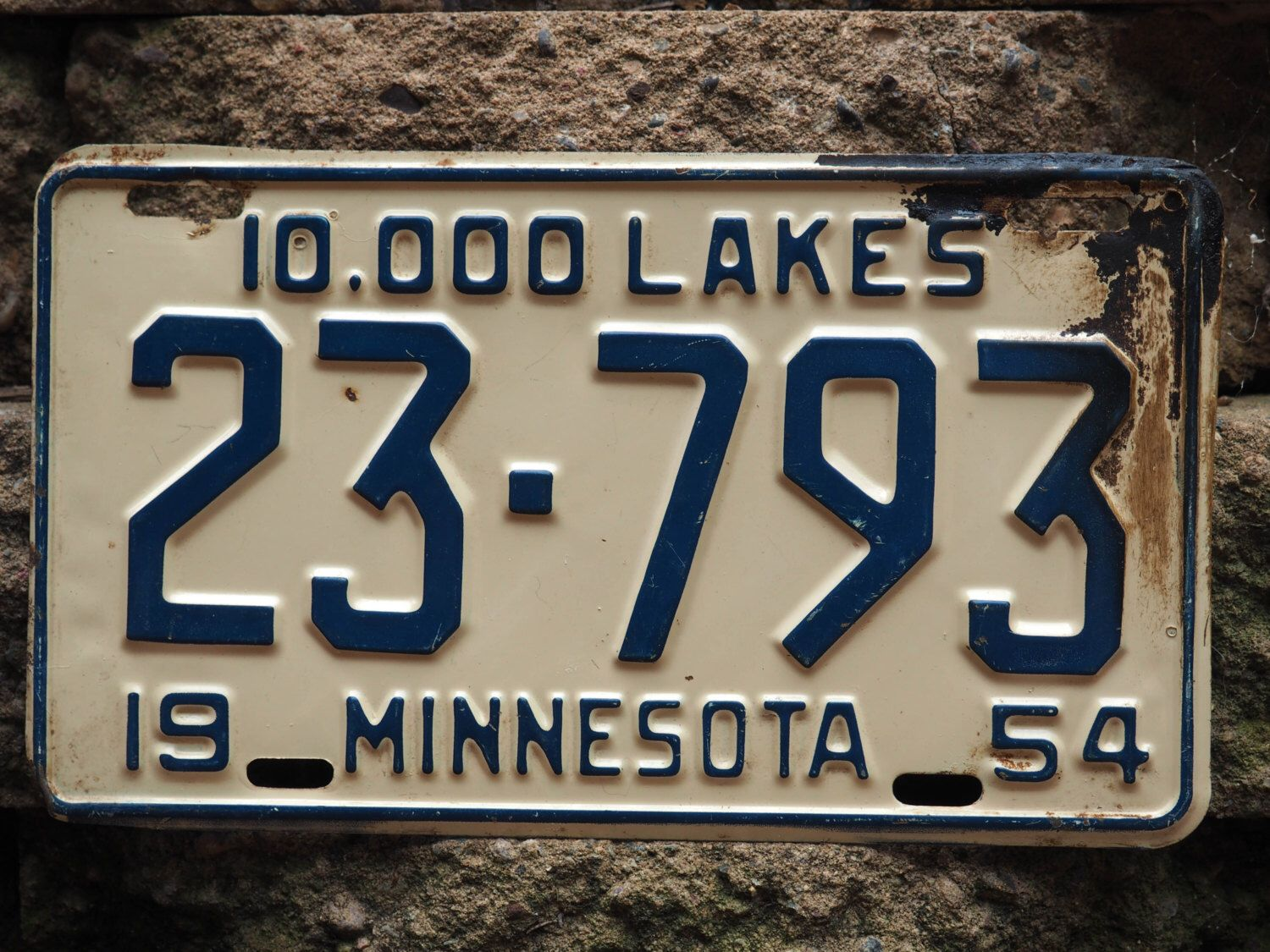 Antique License Plate - Land of 10,000 Lakes - Minnesota - 1954