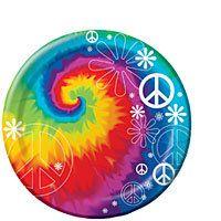 8ct Peace Tie Dye Dessert Plates