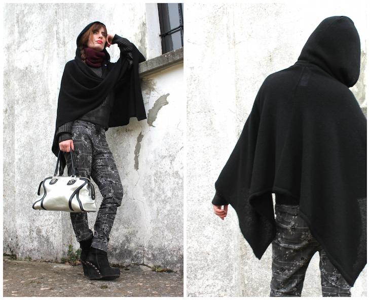 My Black Cape Black Cape Outfit Fashion Winter Cap Style Fashionblog Fashionblogger Cashmere Cape Cashmere Fashion