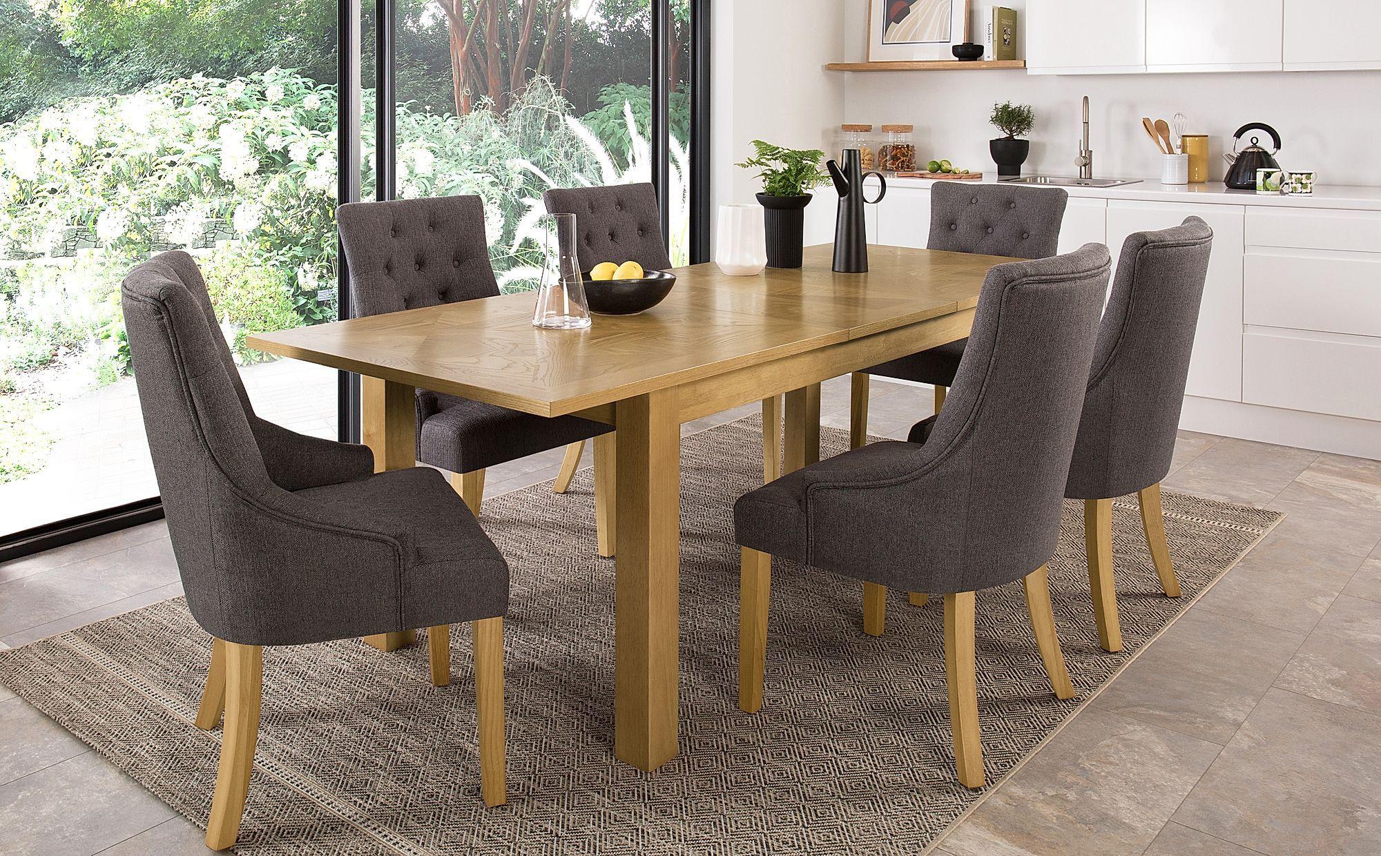 Madison Oak 180 230cm Extending Dining Table With 8 Duke Slate