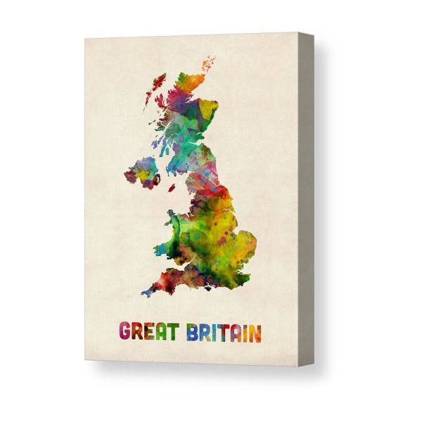 Great Britain Watercolor Map Canvas Print In 2019 Products