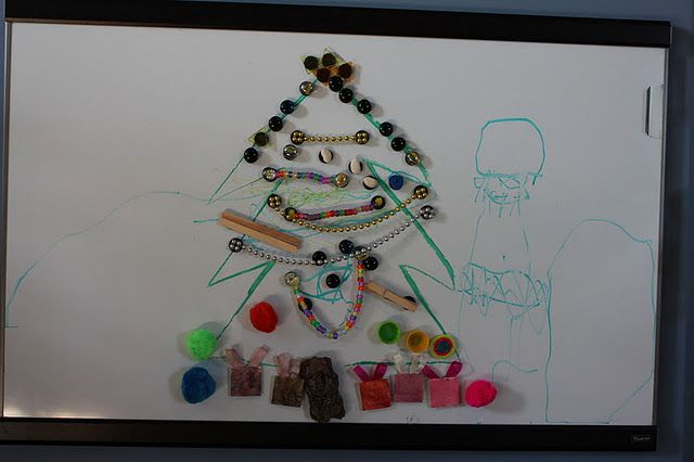 Magnetic Christmas Tree For Kids Draw On Whiteboard Or Tape A Tree To A Fridge Or Cookie Sheet Preschool Christmas Christmas Trees For Kids Christmas Crafts