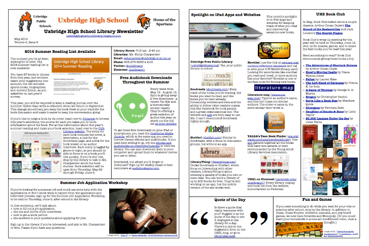 May 2014 Newsletter | Library Newsletters | Pinterest