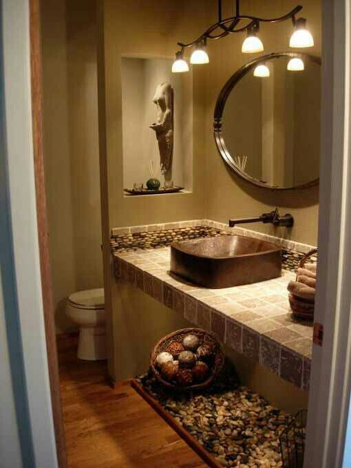 Warm tone bathroom ideas. Brown neutral color :-)