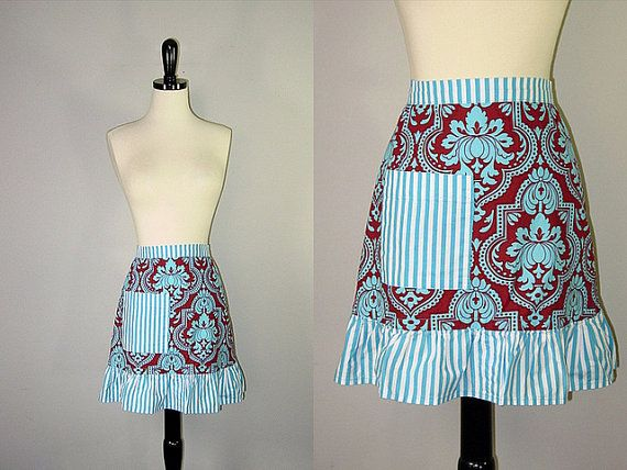 Vintage Striped Ruffle Apron