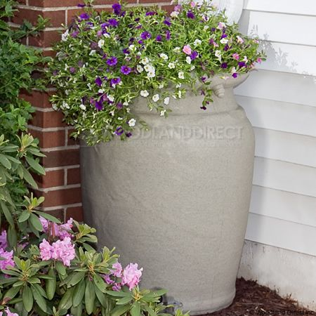 planter urn rain barrel sandstone woodlanddirectcom outdoor living rain - Decorative Rain Barrels
