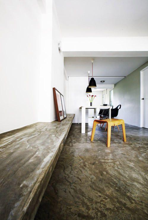 Concrete Screed Bench. Interior ...