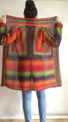 Burnt Orange Granny Square Knit Cardigan Women Wool Jacket Coat Green Violet Cardigan Rainbow Clothing Boho Open Front Long Cardigan