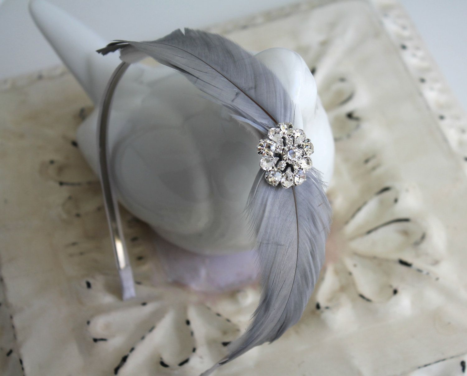 Silver Grey Feather Headband - Crystal Bridal Headband - Feather Fascinator - Bridesmaids - Many Colors #fascinatorstyles