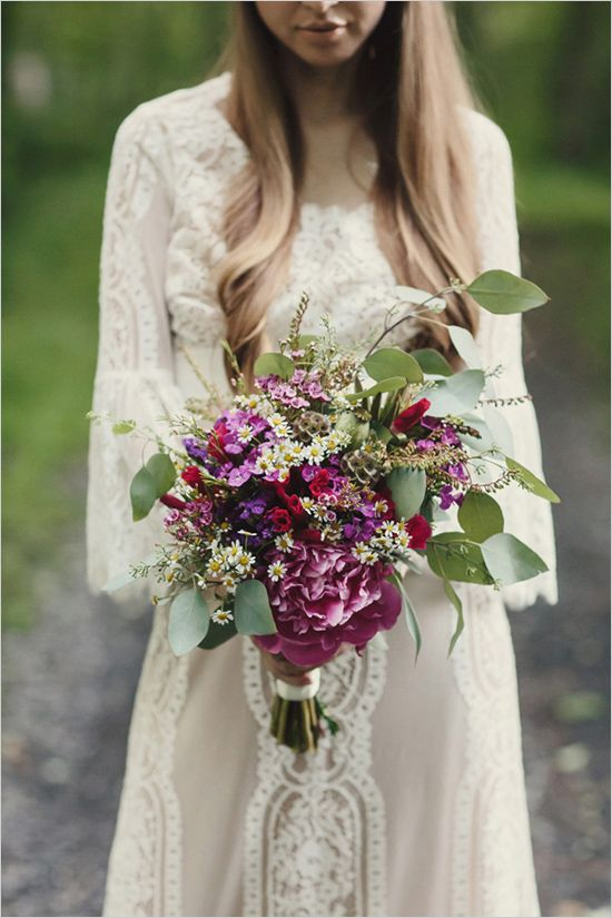 Bohemian Garden Wedding with Color | Wildflower wedding ...  |Bohemian Style Flowers