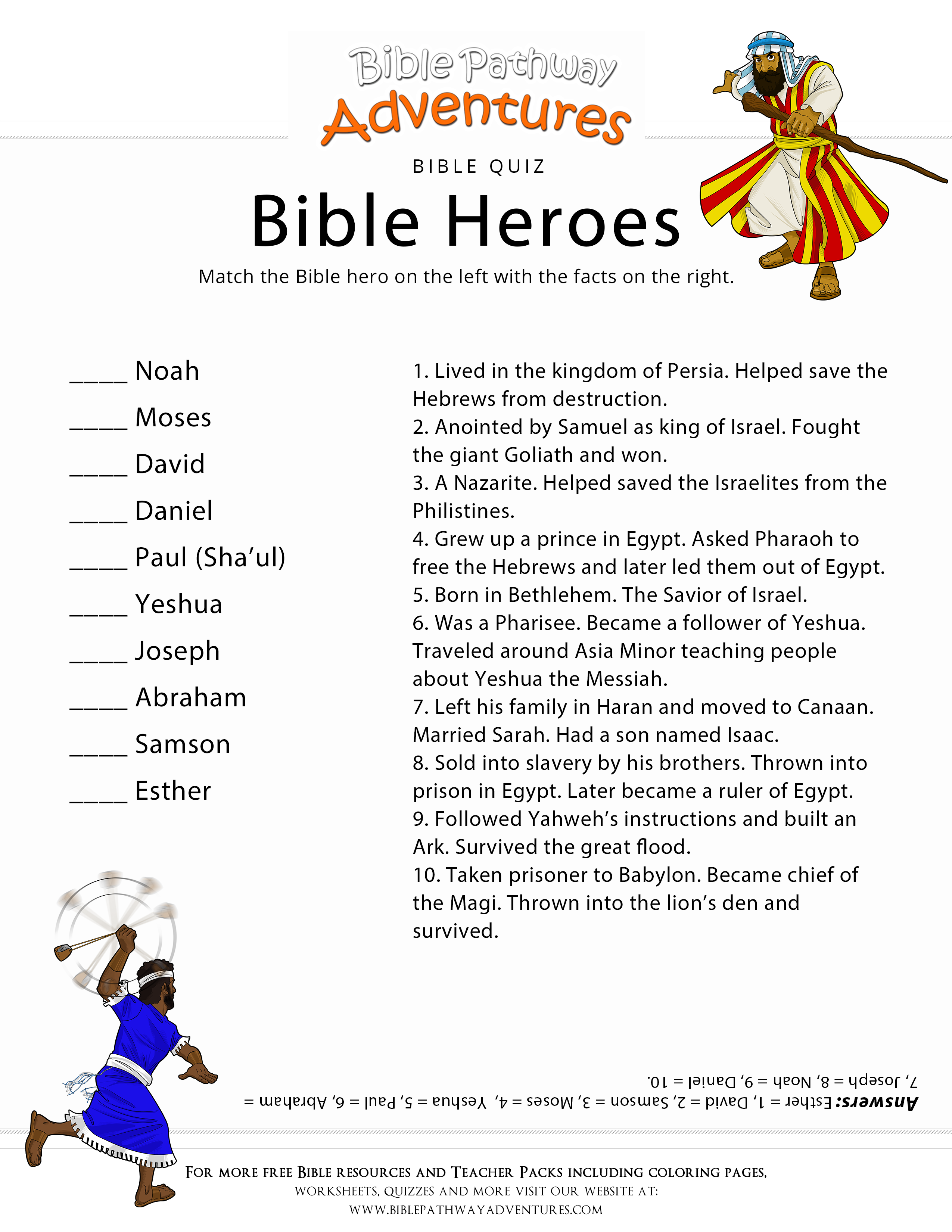 Printable Bible Heroes Quiz For Kids