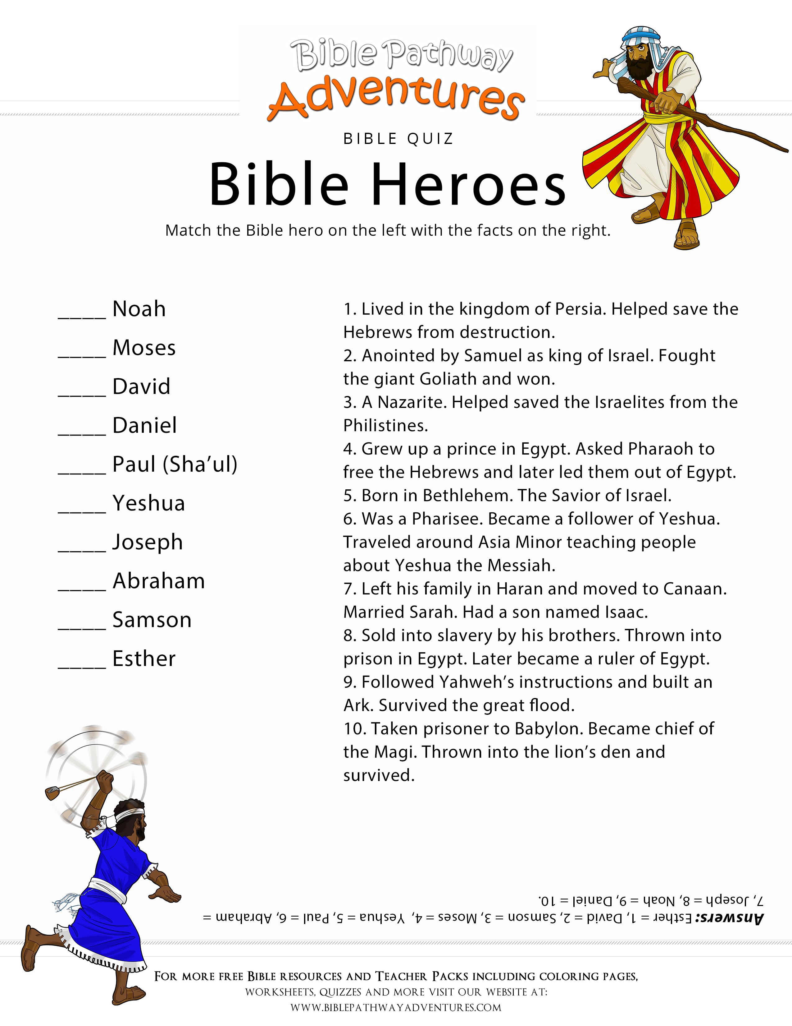 Bible Heroes Quiz Bible Lessons For Kids Bible Quiz Bible Heroes