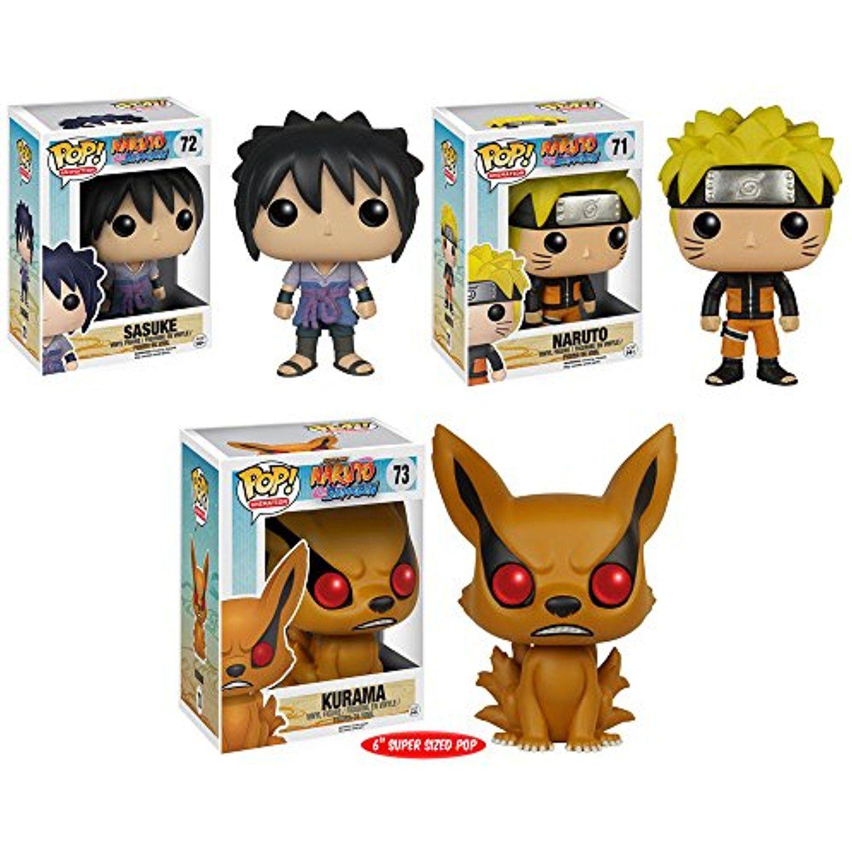 Pop Anime Naruto Sasuke Naruto And Kurama 6 Vinyl Figures