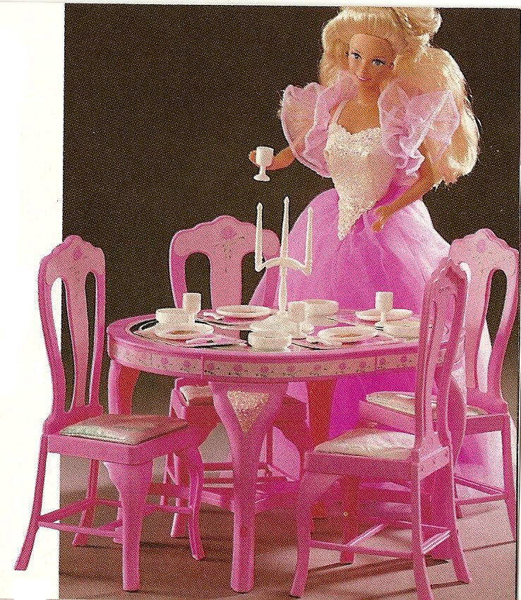Costume Ball Barbie ~ Pink Magic Barbie Furniture 1992 Would Delectable  Barbie Dining Room Set Inspiration