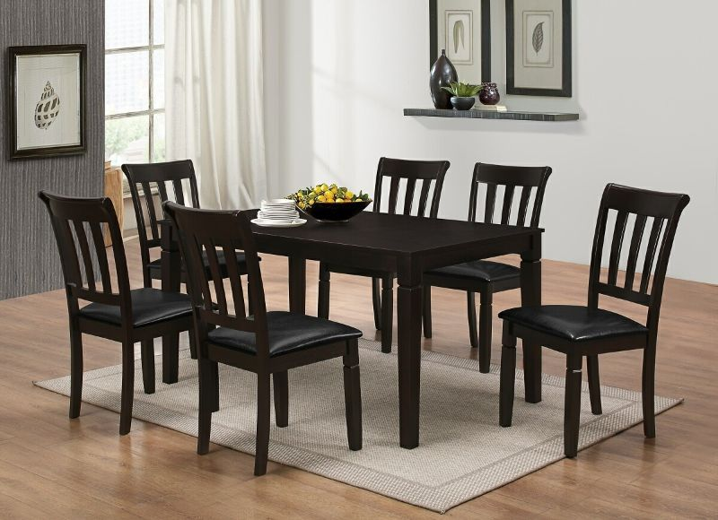 7839 7739 7pc 7 Pc Winston Porter Winnetka Espresso Finish Wood Dining Table Set Dining Set With Bench Best Master Furniture Dining Table