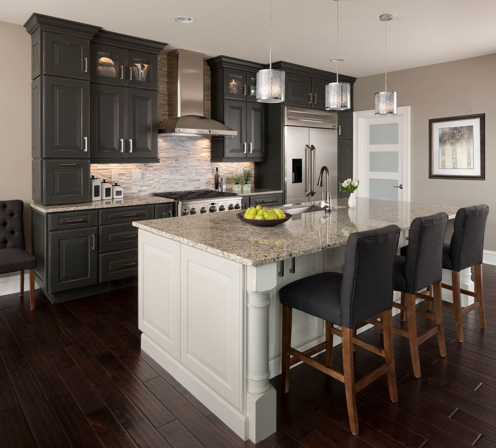 Grey Kitchen Cabinets With Black Appliances: Santa Cecilia Light Granite Kitchen Transitional With Gray