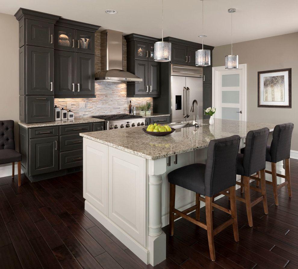 santa cecilia light granite Kitchen Transitional with gray