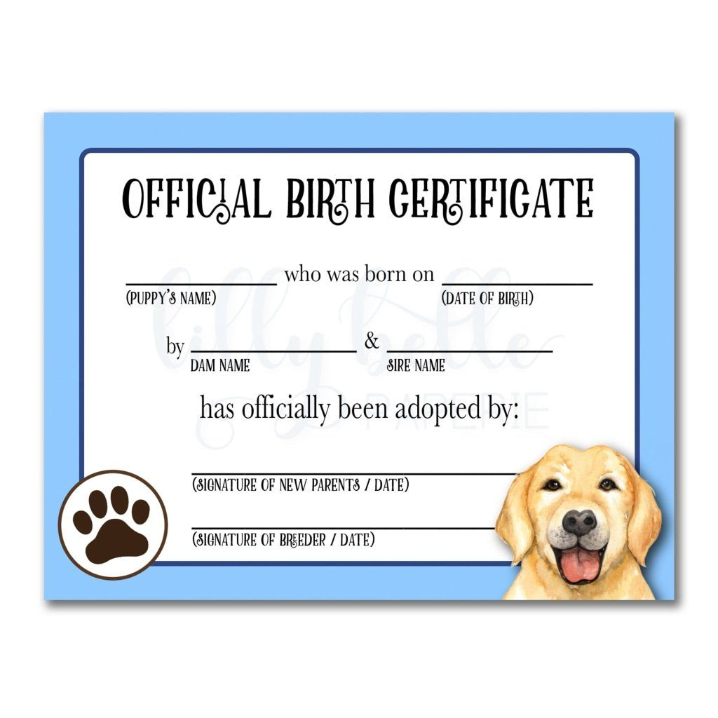 This is a photo of Printable Puppy Birth Certificate with custom