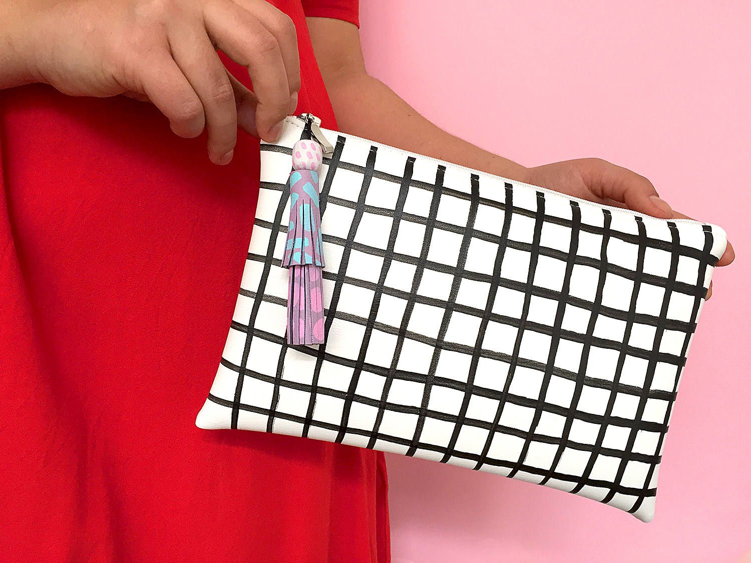 Black and white grid tassel clutch, checkered purse, colorful tassel clutch, zipper clutch, hand painted graphic purse, minimalistic clutch by ColorPhobe on Etsy
