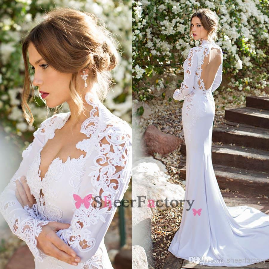 Cheap Mermaid Wedding Dresses Queen Anne Long Sleeve Embroidery ...