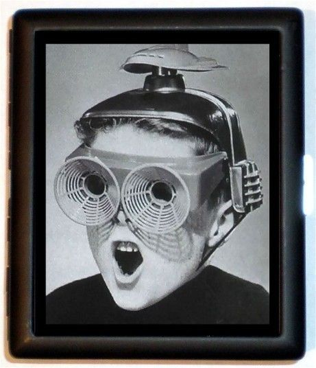 Weird Strange Odd Retro 1950's Boy with Space Age Glasses Atomic Age Design Cigarette Case or Business Card Case Wallet.