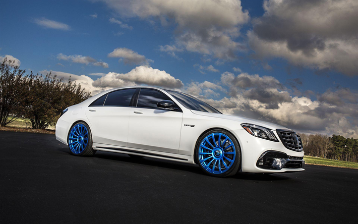 Download Wallpapers Mercedes Amg S63 2018 Cars Tuning Forgiato Wheels Piatto M Blue Wheels S63 W222 Mercedes Besthqwallpapers Com Mercedes Benz Benz S Mercedes