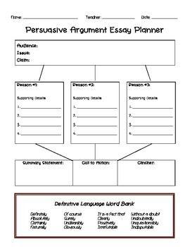 Persuasive or Argument Essay Planner