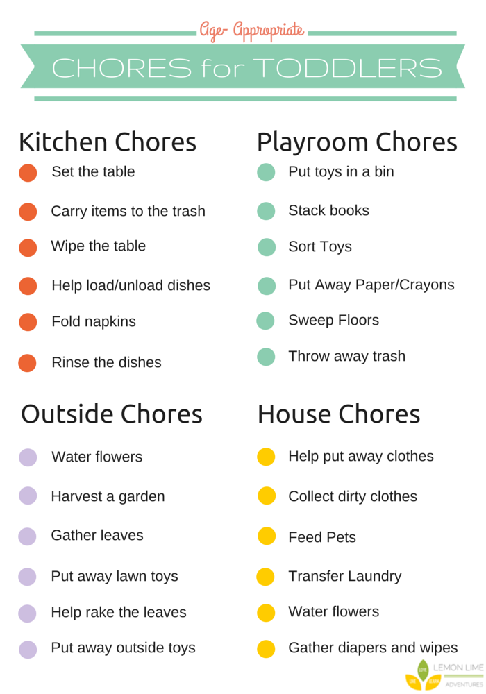 age appropriate chores for kids with free printable chore charts